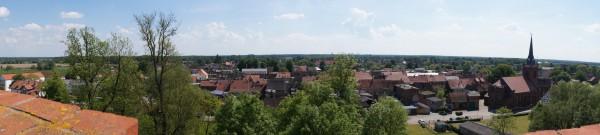 Burgturm - Blick auf Kirche und Stadt Putlitz